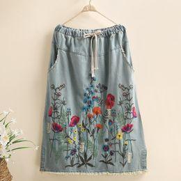 $enCountryForm.capitalKeyWord Australia - Free Shipping 2019 New Long Maxi A-line Skirts Women Elastic Waist Spring And Autumn Denim Jeans Blue Skirt Embroidery Flower Lady Skirts