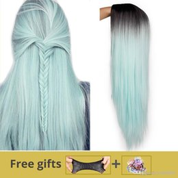 $enCountryForm.capitalKeyWord Australia - Ombre Green Straight Long Synthetic Wigs For Women Black Pink Wigs 24 inch 9 Color can be Cosplay Wigs I's a wig