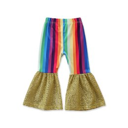 girl rainbow leggings UK - Ins 2020 Summer new rainbow girls flared trousers fashion sequin girls trousers kids trouser girls pants kids leggings wholesale B1507