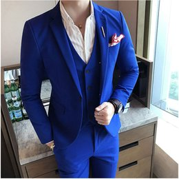 $enCountryForm.capitalKeyWord Australia - Summer Royal Blue Slim Men Suits for Wedding Groom Tuxedo Casual Man Blazer Prom Party 3Piece(Coat Pants Vest)Costume Homme Terno Masculino