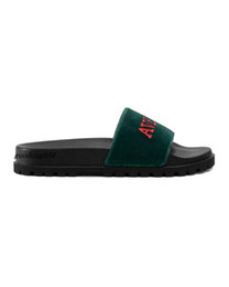 $enCountryForm.capitalKeyWord UK - mens and womens fashion Green Velvet trek rubber Slide Sandals slippers With Embroidery thick moulded rubber foot bed