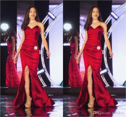 Front Art Australia - Mermaid Evening Dresses Red Sweetheart Front Split Pageant Celebrity Gowns Women Prom Occasions Dresses Formal Party Wears
