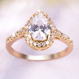 $enCountryForm.capitalKeyWord Australia - Drop shape Austria Crystals wedding rings for women Anel Rose gold color Zircon rings female party gift top quality jewelry