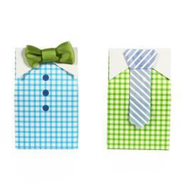 $enCountryForm.capitalKeyWord NZ - My Little Man Blue Green Bow Tie Birthday Boy Baby Shower Favor Candy Box for Wedding favor Birthday Party 50pcs Party Supplies