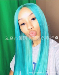 Blue hair long anime online shopping - Cosplay Wig CM Carve Long Straight Hair Cross Border Supply Fashion Anime Wig High Temperature Wire Wig