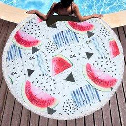 b7ad3364ec 150cm Outdoor Swimming Bath Towel Fruit Watermelon Series Sport Beach Towel  Round Microfiber Sport Yoga Blanket 2019 New