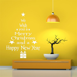 wall sticker tree white Australia - 2018 New Christmas Decoration for Home White Red Christmas Wall Sticker Removable Waterproof Wall Art Door Window Stickers