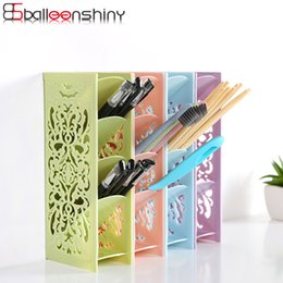 Discount pierce box - BalleenShiny Plastic 4 Grids Desk Office Organizer Storage Box Pierced Stationery Tableware Commodity Shelf Makeup Stora