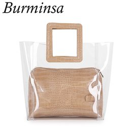 $enCountryForm.capitalKeyWord Australia - Burminsa Summer Transparent Women Handbags Crocodile Female Clear PVC Tote Bags For Beach Holiday 2019 White Black Apricot Brown