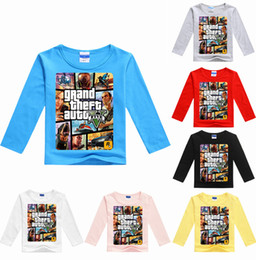 $enCountryForm.capitalKeyWord Australia - YLS 2-16Years Baby Boy Long Sleeves GTA 5 Tshirt Games Clothes Grand Theft Auto Girls T Shirt Cotton Tops Tees for Couples