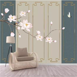 Chinese Painting Paper Australia - Chinese hand-painted magnolia flower bird stainless steel metal wire inlaid hard bag wall photo wallpaper living room wall papers home decor