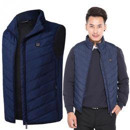 Electric Hot Warmer Australia - 2018 New Men Women Electric Heated Vest Heating Waistcoat USB Thermal Warm Cloth Feather Hot Sale Winter Jacket Black Blue 4XL