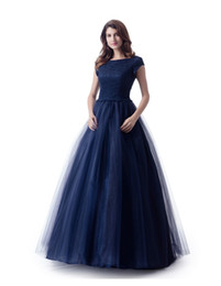 Lace Top Long Tulle Prom Dress UK - A-line Navy Blue Long Modest Prom Dress With Cap Sleeves New Jewel Lace Top Tulle Skirt Floor Length Teens Modest Evening Dress