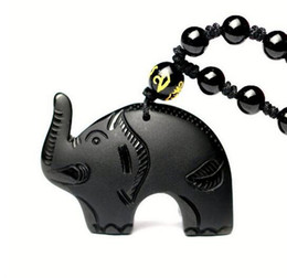 $enCountryForm.capitalKeyWord Australia - Natural Black Obsidian Carved Auspicious Cute Elephant Amulet Lucky Pendant Necklace Fashion Jewelry Healing Gift