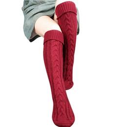 Wholesale Wool Tights UK - New 8colors knitting Women Long Boot Socks wool Over Knee Thigh High Warm Stocking Pantyhose Tights leg warmers fashion socks 2pcs pair
