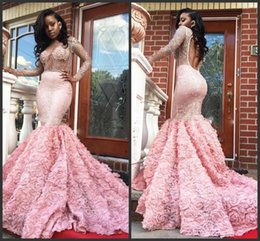 open back see through prom dresses Australia - Gorgeous 2019 New Pink Long Sleeve Prom Dresses Sexy See Through Long Sleeves Open Back Mermaid Evening Gowns Formal Party Dress