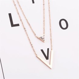 Triangle shape necklace online shopping - Korean version of the D line diamond double ring titanium steel necklace female triangle diamond V shaped fashion clavicle chain popular new