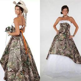 Camo Wedding Dresses Cheap Australia - 2019 Strapless Camo Wedding Dress Empire Waist Country Beach Bridal Gowns Plus Size Cheap Lace-up Vestidos de Novia Camouflage Forest Gown