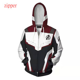Wholesale captain america woman costume for sale – custom The Avengers Endgame D Quantum Realm Iron Man Hoodie Men Captain America Costume Man women Sweatshirt Jacket Superhero Zipper