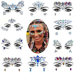 Crystal diamond stiCkers online shopping - Diamond Sticker Bohemia Style Glitter Crystal Tattoo Stickers For Women Face Forehead Paster Wedding Party Decorations styles RRA1459