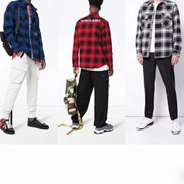 Chinese  C 0 Check Shirt Letter Print Black Blue Red Plaid Shirt Fashion Ins Hip Hop Tide Hot Sale Mens And Women Couple Warm Jacket HFSSJK153 manufacturers