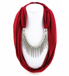 $enCountryForm.capitalKeyWord Australia - Fashion Metal Tassel Necklaces Pendants For Women Charm Red Polyester Scarf Necklace Bohemian Jewelry Scarves Gift Colier