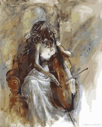 Nude Girl Oil Painting Arts Australia - 16x20 inches Beauty Girl Playing Violin DIY Paint On Canvas drawing By Numbers Kits Art Acrylic Oil Painting Frame For Adult Teen