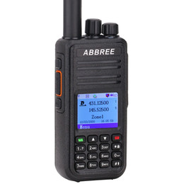 Wholesale Gps Radio UK - 2Pcs ABBREE DMR AR-UV380 (GPS) Walkie Talkie VHF UHF Dual Band 136-174&400-480MHz Dual Time Slot Tier 1&2 Digital Analog Radio