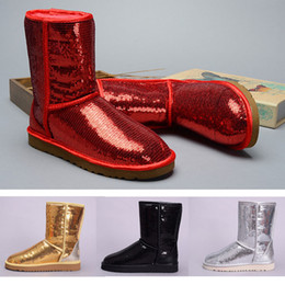 $enCountryForm.capitalKeyWord Australia - 2019 boots for women FASHION Australia Classic snow Boots WGG Tell Red black Bowknot girl winter desinger shoes boots Sequin size36-41