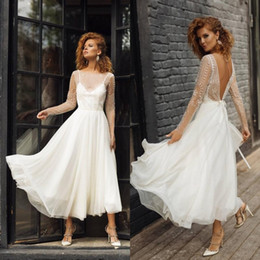 Red chiffon tea length dRess online shopping - 2020 Vintage White Long Sleeves Short Bohemian Wedding Dress Vintage Lace Appliqued Open Back Country Beach Country Boho Bridal Gown