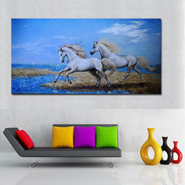 two horse oil painting Australia - 1 Piece Big Size Canvas Art Two Running Horse Print Poster Wall Art Pictures for Living Room Modular Pictures No Frame