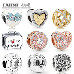 galaxy flag NZ - FAHMI 925 Sterling Silver Galaxy Openwork Pink Sparkle Flower Family Forever Sparkling Skul Ladybird Heart Love Travel Suitcase Charm Beads