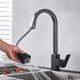 $enCountryForm.capitalKeyWord Australia - Matte Black Kitchen Faucet Pull Out 360 Rotate Square Mixer Faucet Rubber Design Hot Cold Water Kitchen Tap Deck Mounted Crane