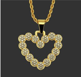 wholesale hip hop jewelry pendants Australia - European and American fashion trend hip-hop personality drill hollow Peach Heart Pendant Necklace boutique men's Necklace Jewelry