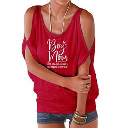 Boys Rock Tees Australia - 2019 Fashion Boy Mom Letters Print T-Shirt For Women Off The Shoulder Bat Sleeve Tops Harajuku Graphic Tees Funny Femme Rock