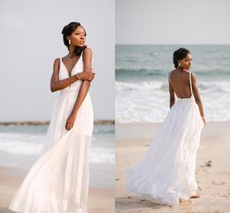 orange chiffon beach wedding dress Australia - Sexy Backless Chiffon Beach Wedding Dresses with Applique Spaghetti V Neck Bridal Summer Wedding Gowns A Line