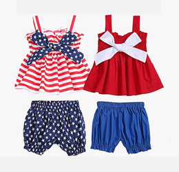 Infant Girl Two Piece Australia - 2019 toddler girls outfits 4th of july newborn baby girl clothes kids boutique clothing infant suspenders vest tops + shorts two pieces sets