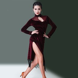 $enCountryForm.capitalKeyWord NZ - Latin Dance Dress Red Wine Long Sleeve Velvet Tassel Women Salsa Cha Dancing Clothes Ladies Competition Performance Wear DN2892
