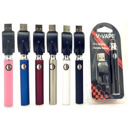 Vente en gros 2019 V-VAPE 650mAh Préchauffer VV Batterie Blister Starter Kits Batteries À Tension Variable Avec Chargeur USB Pour 510 Cire Cartouche D'huile Épaisse