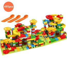 small plastic blocks Australia - Marble Race Run Block Variety slide track Building Blocks Funnel Slide DIY Small Size Bricks Compatible kids Toys Birthday gifts CX200613