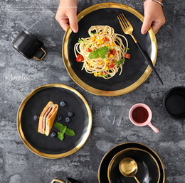 $enCountryForm.capitalKeyWord Australia - LEKOCH European Style Matte Black Ceramic Dishes Porcelain Bowl Dinnerware Steak Dessert Pasta Plates Salad Soup Bowls Restaurant