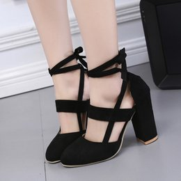 Sandal High Flats Shoes Canada - Designer Dress Shoes Sexy Women Pumps Lace up Heels Sandals Woman sandals Thick with Women women High heels Sandal for Party Wedding