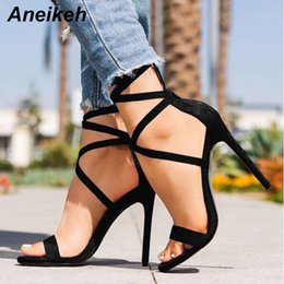 $enCountryForm.capitalKeyWord Australia - Aneikeh Women Sexy High Heel Sandals Ankle Strap Shoes Summer Ladies Sandals Open Toe Gladiator Shoes Heels Sandals Fetish New Y19070503