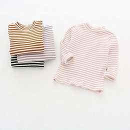 Top Bottom T Shirt Australia - 2019 Spring New Baby Girls Rib Knit T Shirt Blouse Outfit Toddler T-shirts Pink Purple Color Baby Autumn Elastic Top Bottoming