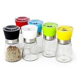 Metal Spice Jars Australia - Salt and Pepper mill grinder Glass Pepper grinder Shaker Spice Salt Container Condiment Jar Holder grinding bottles KKA3074