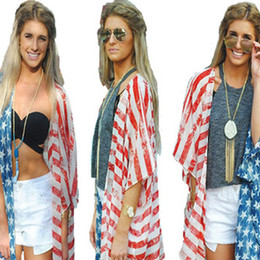 Wholesale three quarter cardigans resale online – Ladies Loose Sun Protected Clothes Casual Patchwork Striped Stars Cardigan Coats American Flag Independence National Day USA th July