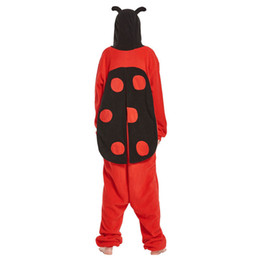 Discount cute kigurumi costumes - Ladybug Kigurumi Onesie Adult Red Black Pajama Funny Cute Animal Costume Men Women Cartoon Overall Winter Party Jumpsuit