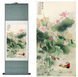 Wholesale Traditional silk art painting Mandarin Duck and water lily Chinese Art Painting Home Office Decoration Chinese painting