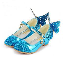 Blue Party Shoes For Girls Australia - Baby Princess Girls Shoes Sandals For Kids Glitter Butterfly Low Heel Children Shoes Girls Party Enfant meisjes schoenen Dance shoes