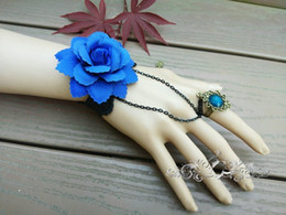 Hand Chain Ring Australia - retro 2018 women bracelet with ring attached metal chain hand-made rose flower royal blue ladies hand chain bracelet ring free shipping